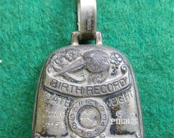 Original 1951 Sterling Silver Baby Bell Birth Record Pendant Rattle - Free Shipping
