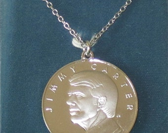 1977 Jimmy Carter Presidential Inauguration Commemorative Franklin Mint .999 Silver Pendant - Free Shipping