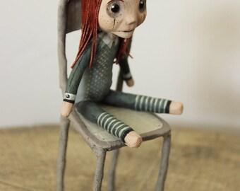 LINA Mini-poupee on his chair OOAK DOLL KriSoft