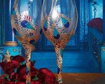 Set of 2 hand painted wedding champagne flutes Peacock theme wedding glasses in gold, blue and turquoise color