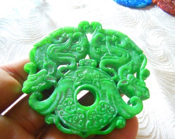 Free Delivery Natural green jade 3D double round dragon luck pendant beads necklace