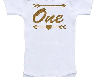 First Birthday Onesie Personalized One First Birthday Onsie One Custom Number Onesie GLITTER bodysuit shirt baby first birthday outfit
