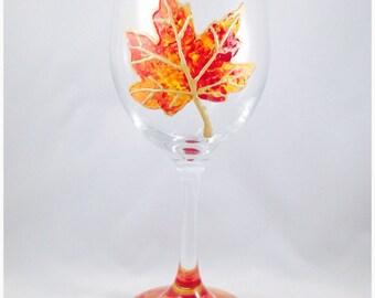 Fall Foliage Leaf Wine Glass