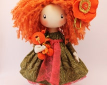 Doll Ivi redhead doll handmade doll clothes dolls in handmade gift handmade gift for children gift for kids orange and green home decor