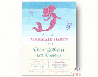 Under the Sea Birthday Invitation (Printable) Glitter Mermaid Birthday Invitation // Mermaid Invitation Birthday // Mermaid Invitations