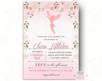 Fairy Princess Birthday Invitation // Fairy Birthday Party // Fairy Garden Birthday Invitation // Pink Printable Birthday Invitations Girls