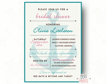 Nautical Bridal Shower Invitation // Printable Anchor Bridal Shower // Nautical Shower Invitation // Modern Nautical Bridal Shower Invites