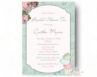 Bridal Shower Tea Invitation (Printable) Shabby Chic Bridal Shower Tea Party Invitations - Bridal Tea Invitation - Tea Party Invitation