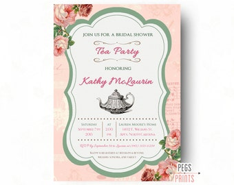 Printable Tea Party Bridal Shower Invitation - Shabby Chic Tea Party Invitation - Bridal Tea Party Invitation - Floral Bridal Shower Invites