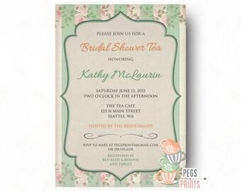 Bridal Tea Shower Invitation // Printable Tea Party Bridal Shower Tea // Mint Green Tea Party Invitation // Shabby Chic Tea Party Invites