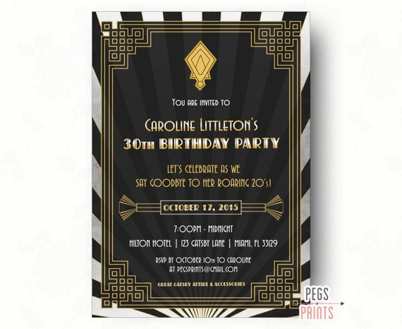 Great Gatsby Invitation Printable Great Gatsby Birthday