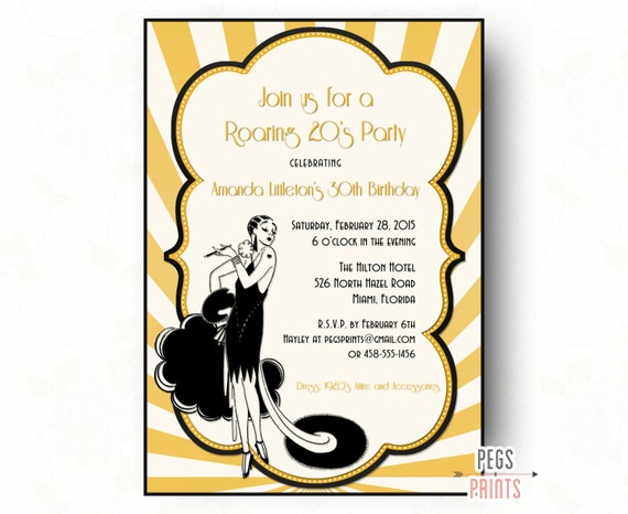 Roaring 20S Invitations as Inspirational Template To Create Luxury Invitation Ideas