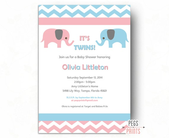 Baby shower invitation twins twin baby shower invitation il570xn filmwisefo Image collections