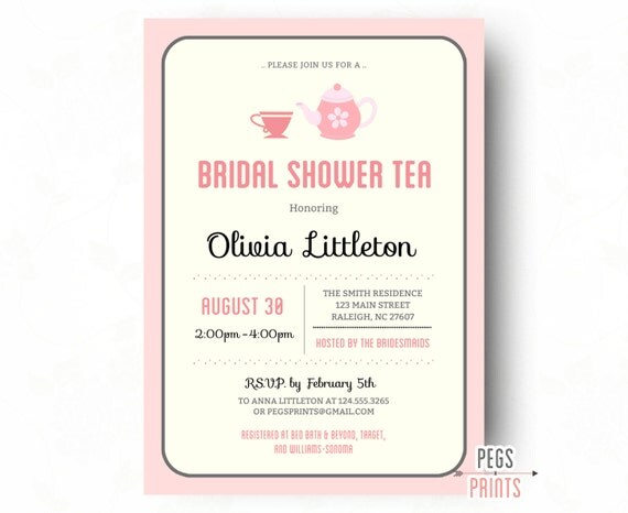 Bridal shower tea party invitations printable bridal shower tea il570xn filmwisefo Images
