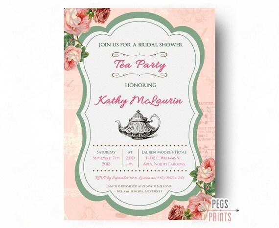 Printable tea party bridal shower invitation shabby chic tea party il570xn filmwisefo