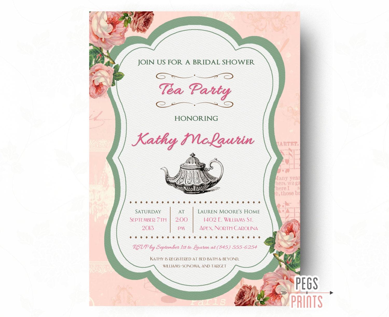 Vintage Tea Party Wedding Invitations: Printable Tea Party Bridal Shower Invitation Shabby By
