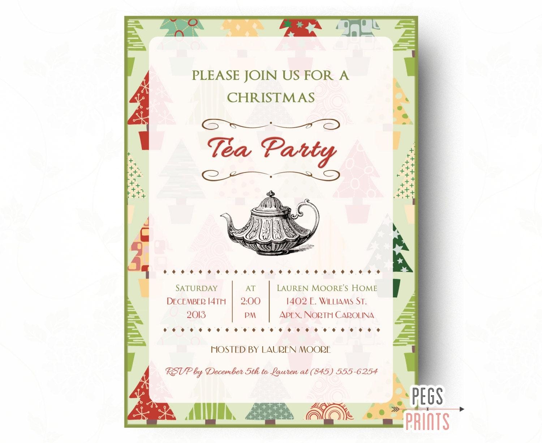 Christmas Tea Invitation Printable Christmas Tea Party