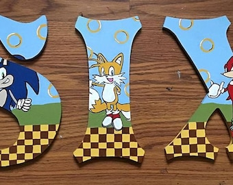 Sonic the Hedgehog Wooden Letters