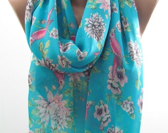 Floral Scarf Shawl Blue Scarf Bird Scarf Spring Summer Fall Autumn Winter Christmas Gift For Her Mom Wife Grandma Sister Aunt Girlfriend