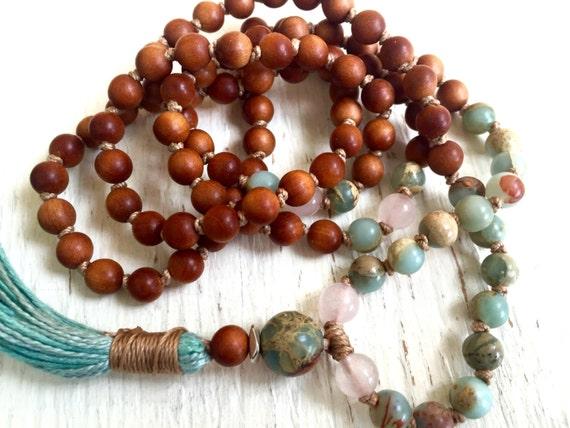Petite Sandalwood Mala Beads, African Opal, Rose Quartz, Tassel Necklace, Yoga Meditation Jewelry , 108 Beads, Prayer Beads,