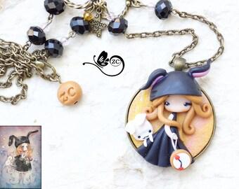 polymer clay necklace / fairy/ fimo/ clay / zingara creativa/yuri ueda collection