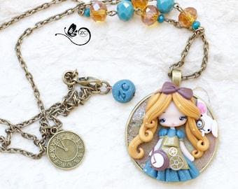 polymer clay necklace / steampunk Alice / disney / princess / clay