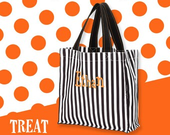 Black and White Stripe Personalized Halloween Carryall, Goodie Basket, Toy Bucket, Treat Bag