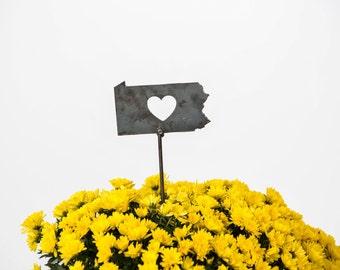 Pennsylvania State Heart Garden Art Stake