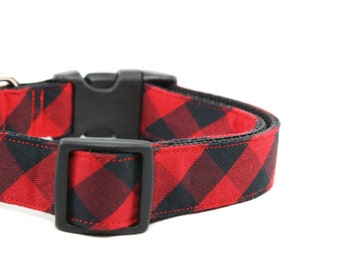 Red Buffalo Plaid Dog Collar Red and Black Winter Checkered Dog Collar - Darcy