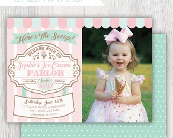 Printable ice cream parlor invitation with photo - Here's the scoop - Ice cream first birthday party - Ice Cream Sweet Shoppe - Customizable