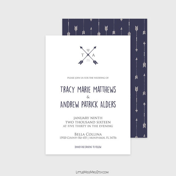 DIY printable wedding invitation - rustic chic - navy and silver arrows