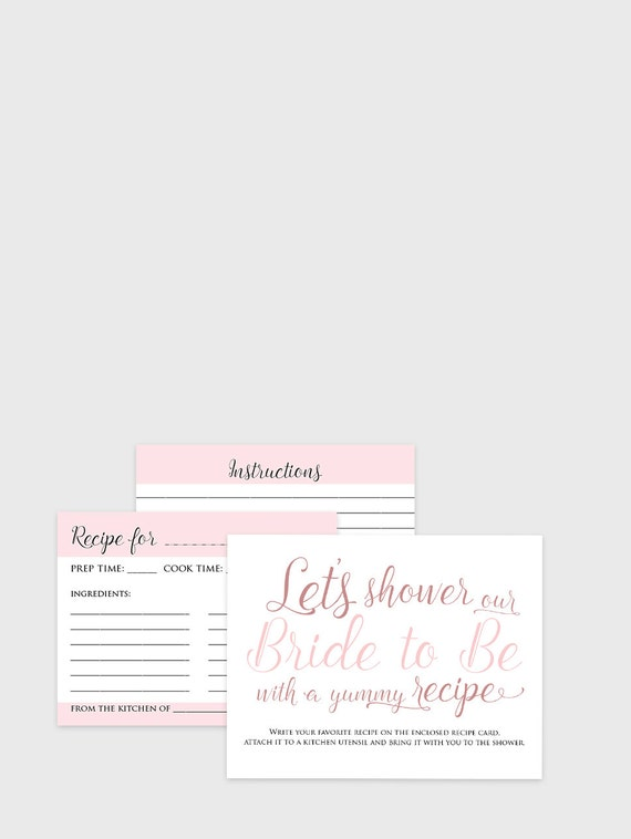 Bridal Recipe Cards - Instant Download - Printable bridal shower recipe card game instructions, cards and table sign