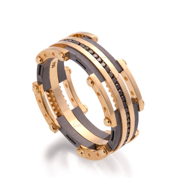Gold Wedding Band Mens 18K Gold And Black Diamond