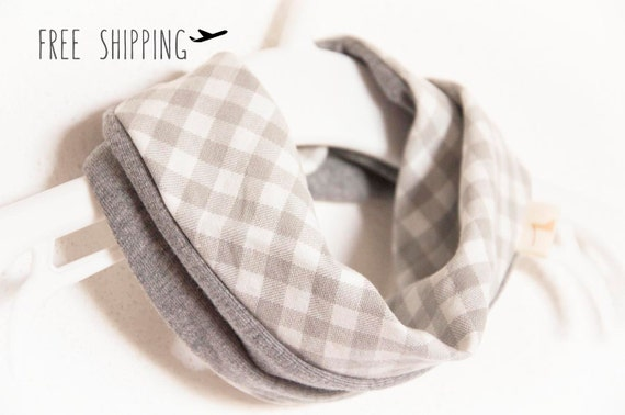 Baby scarf bib. Stylish drooler bib. Infinity scarf look. 100% cotton. Baby, teen, adult. Grey gingham