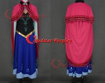 Anna Coronation Cosplay Costume from Frozen snow Queen Cosplay Dress (type B)