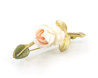 Vintage Carved Rose Brooch, Cream Pink, Jade Leaf, Gold Tone
