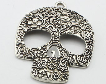 1pc 50x65mm  Antique Silver Skull Charm Pendant   Day of the Dead