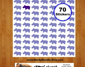 Hippo Planner Stickers, 70, Hippopotamus Stickers, Hippo Stickers, Hippo Envelope Seals, Hippopotamus Envelope Seals, Hippo Scrapbooking