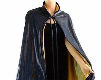 """Unisex 35"""" Long Reversible Black & Gold Holographic Hoodless Cape Cloak 152838"""