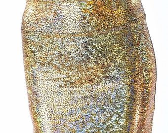 Gold on Black Shattered Glass Metallic Bodycon Skirt made from Holographic Lycra Spandex  152287