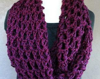 Infinity Scarf, Crochet Infinity Scarf, Cowl Scarf, Neckwarmer, Circle Scarf, Circle Infinity, Wrap, Crochet Wrap, Purple