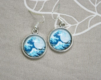 Hokusai wave Fuji ocean sea blue art artist round earrings any picture