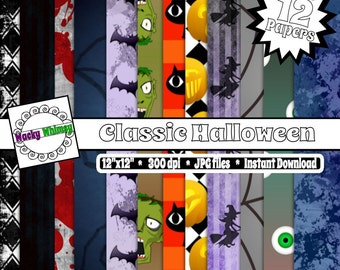 "Digital Paper - ""Classic Halloween"", Some CU OK, Zombies, Bats, Witches, Pumpkins, Black Cats, Instant Download"