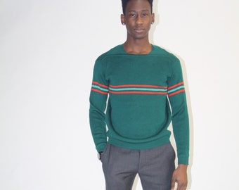 1970s Head Athletic Striped Green Sweater - Vintage Head  Sweater - 70s Men's Sweater - MT0653