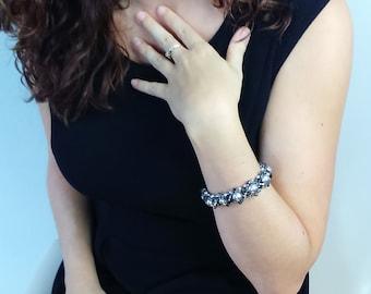 Black and grey bracelet. Swarorski crystal.