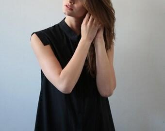 Black button-down shirt dress, short black dress, little black dress, short dress, black shirt, collar dress, collar shirt