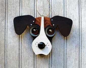 Boxer Dog Ornament, Recycled Hand Made Ornament Boxer dog, Everyday Decorative Ornament