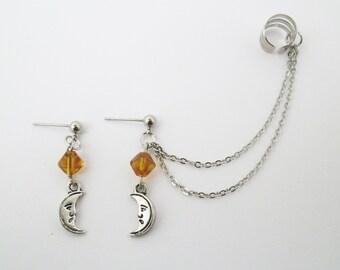 Moon ear cuff wrap earring, moon ear cuff, moon jewelry, moon chain ear cuff