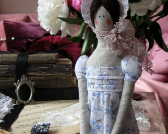 Jane Austen doll Tilda doll French country decor Shabby Chic doll Gift for her  Regency doll English cottage Fabric dolls Art dolls Girl toy