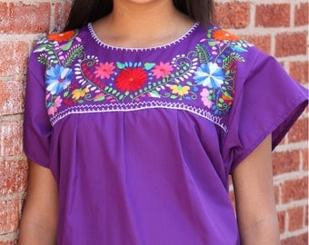 Mexican Puebla Hand Embroidered Puebla Blouse (Purple, Small)